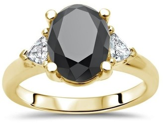 Front Jewelers 2 3/4 ct Tdw Oval Cut Black Diamond 3 Stone Trillion Diamond Engagement Ring 14k Yellow Gold