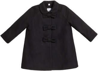 Burberry Girl's Jayda Virgin Wool Bow Swing Coat, Size 4-14
