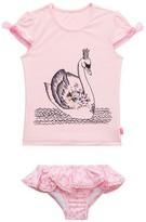Seafolly Girls Toddler Swan Lake Short Sleeve Rashie Set