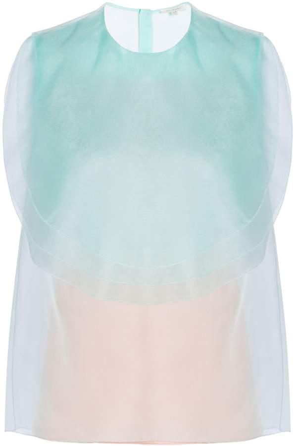 DELPOZO Silk Organza Ruffled Top
