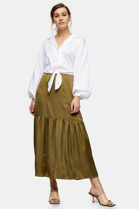 Topshop Womens Tall Khaki Plain Tiered Satin Skirt - Khaki