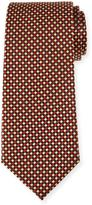 Neiman Marcus Diamond-Print Silk Tie, Black/Red