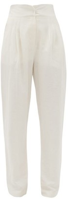ÀCHEVAL PAMPA Gato Satin-waistband Linen-blend Tapered Trousers - White