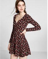 Express floral sweetheart neck skater dress