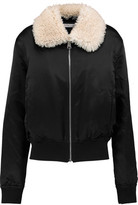 J.W.Anderson Embroidered Shearling-Trimmed Silk-Satin Bomber Jacket
