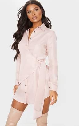 PrettyLittleThing Blush Tortoise Button Wrap Tie Shirt Dress