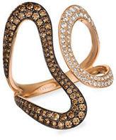 LeVian Chocolate Diamond, Vanilla Diamond, Cognac Diamond & 14K Strawberry Gold Ring