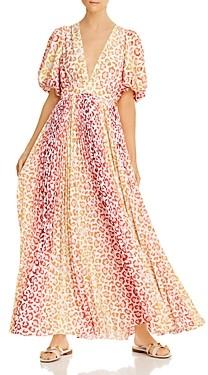 Rococo Sand Avana Leopard Print Puff-Sleeve Maxi Dress