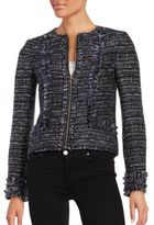 Karl Lagerfeld Paris Tweed Zip-Front Blazer