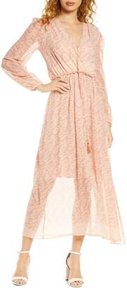 Fraiche by J Fara Long Sleeve Sheer Maxi Dress
