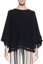 Chloé Tassel-Trim 3/4-Sleeve Sweater, Navy
