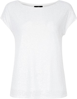 Wallis Ivory Sequin T-Shirt
