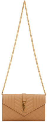 Saint Laurent Tan Mix Matelasse Chain Wallet Bag