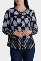 Paisley Print Crochet Trim Long Sleeve Shirt