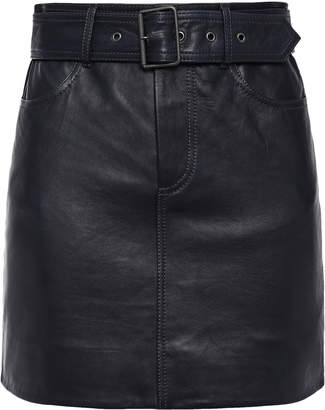 Victoria Victoria Beckham Victoria, Victoria Beckham Belted Textured-leather Mini Skirt
