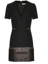 Thierry Mugler Leather-trim short sleeved dress