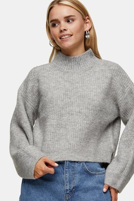 Topshop Womens Petite Grey Marl Cropped Funnel Neck Knitted Jumper - Grey