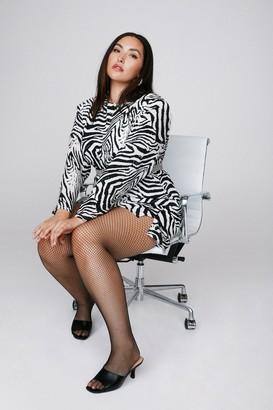 Nasty Gal Womens Wild Streak Zebra Plus Dress - Black - 16