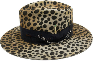 Nick Fouquet Lynx Animal Print Beaver Felt Fedora Hat