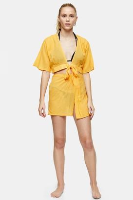 Topshop Womens Orange Short Sarong - Orange