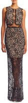 Nicole Miller Illusion Lace High Neck Gown