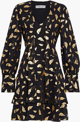 Diane von Furstenberg Mylah Tiered Metallic Printed Chiffon Mini Dress
