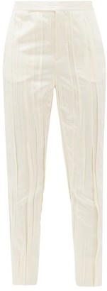 Saint Laurent High-rise Pleated Satin Trousers - Womens - Ivory