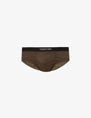 Tom Ford Branded-waistband fitted stretch-cotton briefs