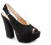 Chinese Laundry First Stop Women Open Toe Suede Platform Heel.