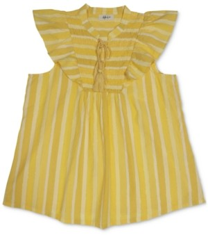 Style&Co. Style & Co Petite Cotton Striped Smocked Ruffle-Sleeve Top, Created for Macy's