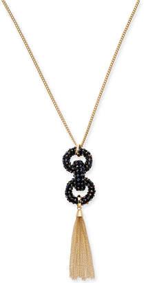 "INC International Concepts Inc Gold-Tone Beaded Link & Chain Tassel Pendant Necklace, 28"" + 3"" extender"