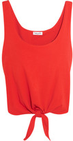 Splendid Tie-front Cotton-jersey Top - Tomato red
