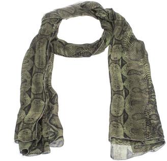 Roberto Cavalli Green Snake Skin Print Silk Stole