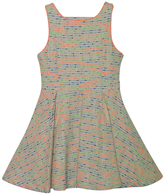 Sequin Hearts Aqua & Pink Abstract Sleeveless Fit & Flare Dress - Girls