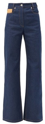 Paco Rabanne Leather-patch High-rise Flared Jeans - Denim