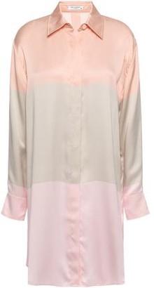 Equipment Color-block Silk-satin Mini Shirt Dress