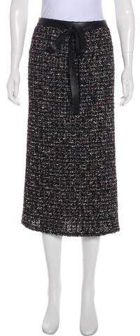 Chanel Leather-Trimmed Fantasy Tweed Skirt