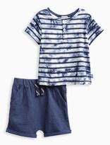Splendid Baby Boy Tie Dye Short Sleeve Henley Tee and Short Set