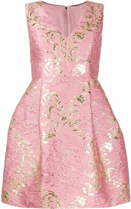 Dolce & Gabbana short floral jacquard lamé dress