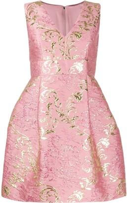 Dolce & Gabbana Short Floral Jacquard Lame Dress
