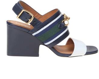 Tory Burch Blue / White Leather Jessa Sandal