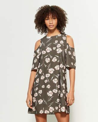 Apricot Floral Print Cold Shoulder Shift Dress