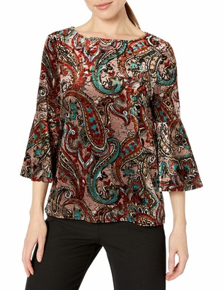Kasper Women's Bell Sleeve Velvet Top