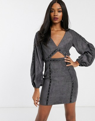 ASOS DESIGN suedette mini dress with cut out and stud detail