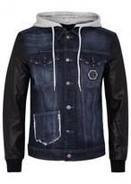 Philipp Plein Camaleon Leather-sleeve Denim Jacket