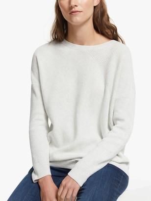 John Lewis & Partners Cotton Boat Neck Multi Rib Stitch Sweater