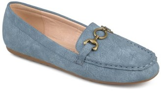 Brinley Co. Women's Faux Leather Comfort-sole Square Toe Chain Distressed Driving Loafers