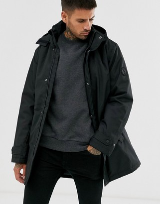 ONLY & SONS padded parka with removable hood in black