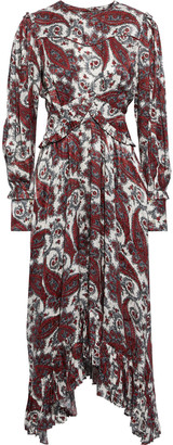 Isabel Marant Jorja Asymmetric Printed Silk-blend Satin-jacquard Midi Dress
