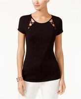 INC International Concepts Short-Sleeve Lattice-Inset T-Shirt, Created for Macy's